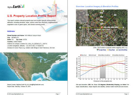 BigData Earth Develops New Generation Property Location - Elevation level by address