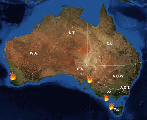 Major Bushfires in Australia in 2015-2016 Summer